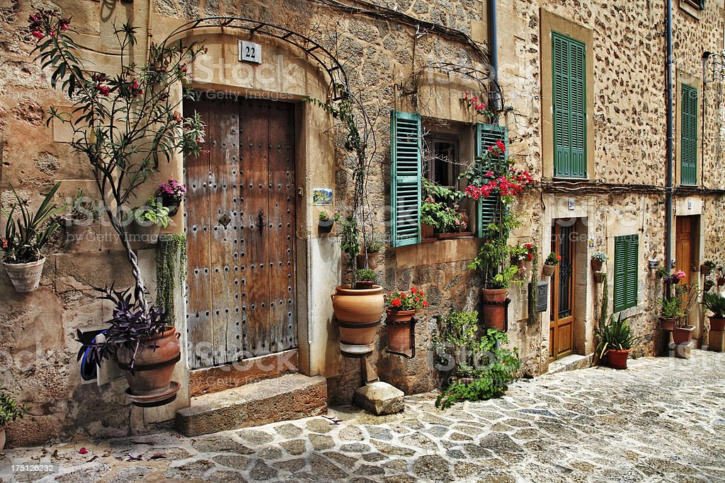 old streets of Mallorca, Spain stock photo