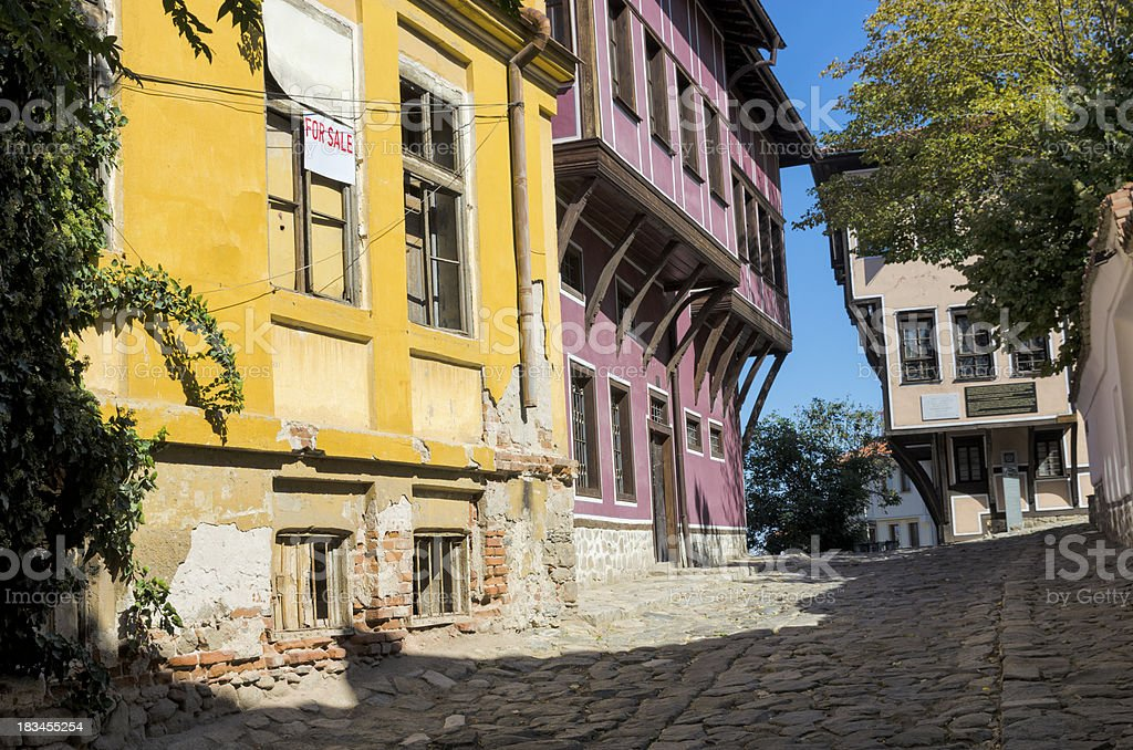 Old streets of Plovdiv stock photo