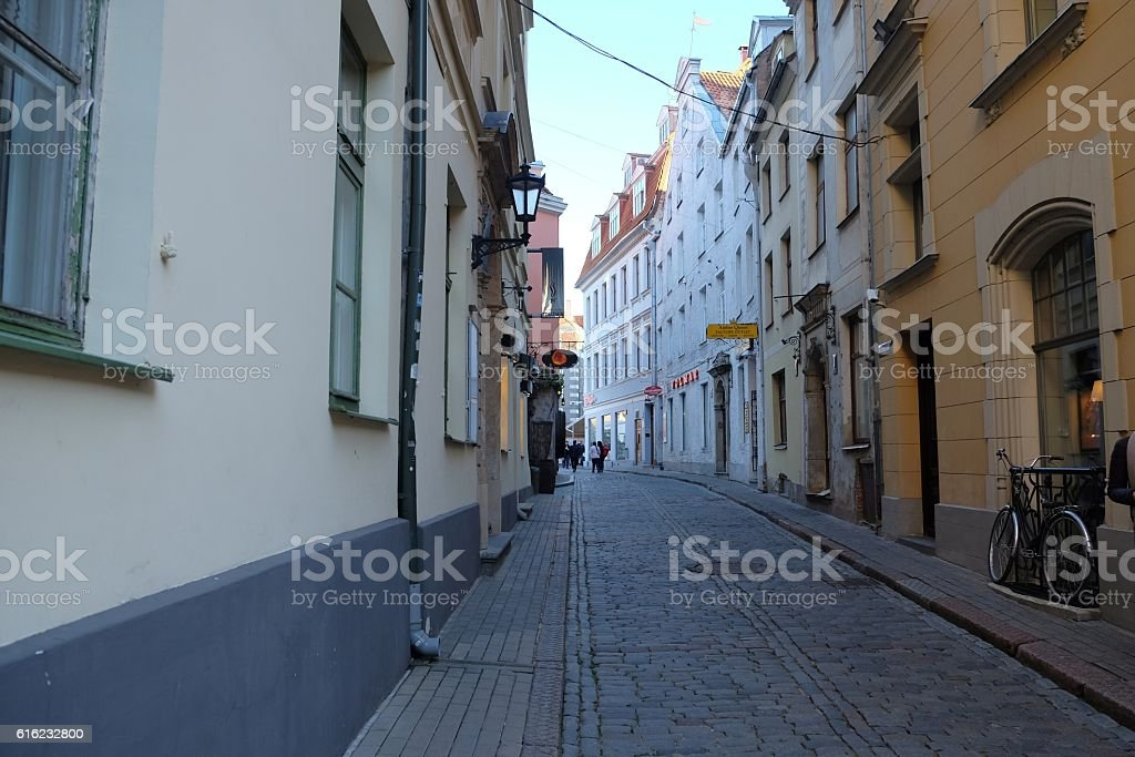 Old streets of Riga. stock photo