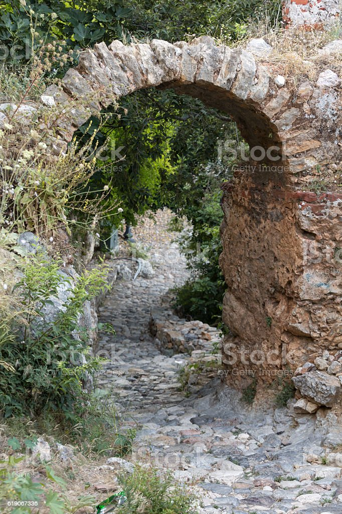 Old streets on the castle hill in Alanya stock photo