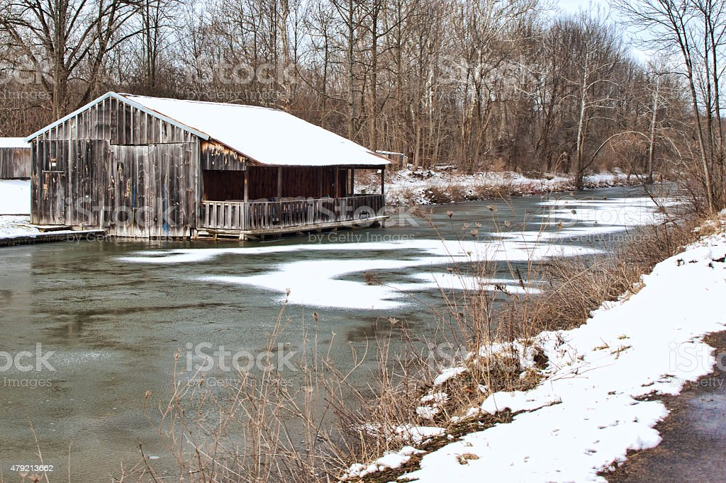 old structure on erie canal stock photo