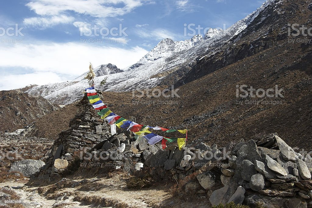 Old stupa with prayer flags, Everest region, Nepal royalty-free stock photo