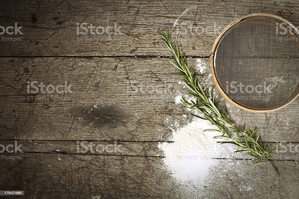 Old Style Baking - still life with old-fashioned sieve stock photo
