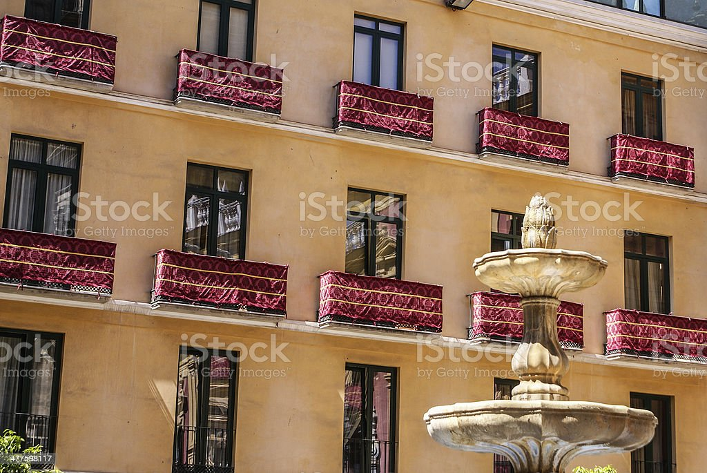 Old style balcony in Malaga. Traditional spanish architecture royalty-free stock photo