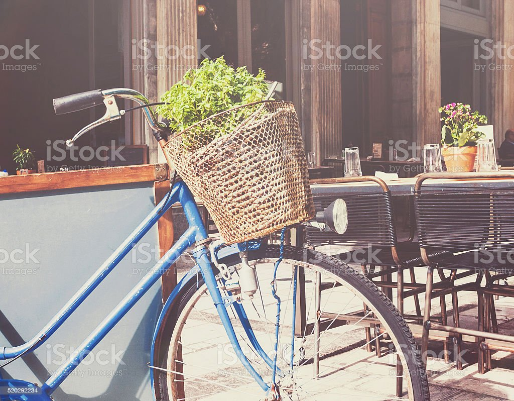 Old style bicycle stock photo