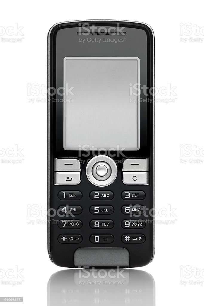 Old style black mobile phone with buttons royalty-free stock photo