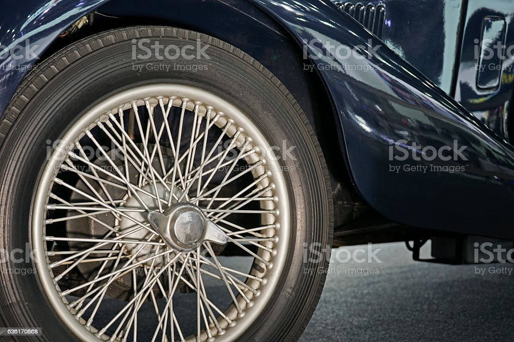Old style Classic Car wheel. stock photo