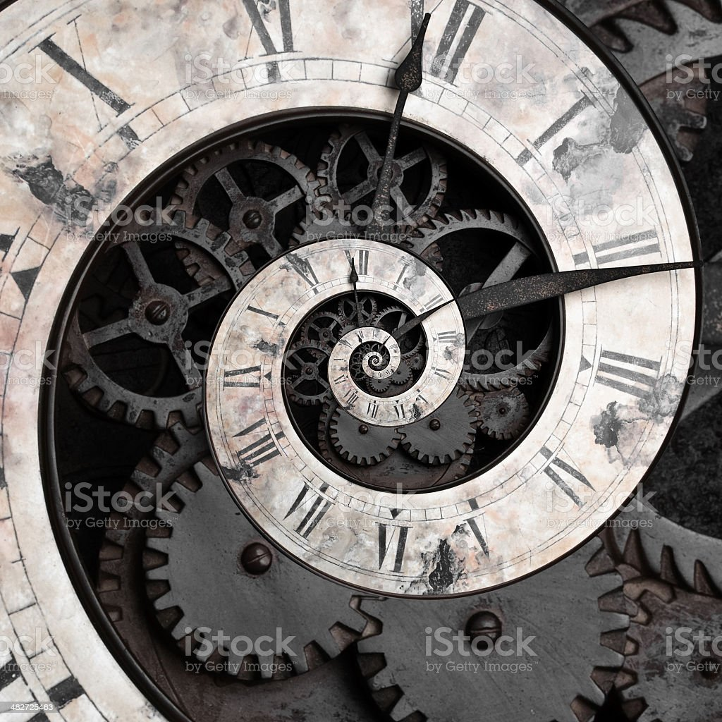 Old style clock face spiraling down stock photo