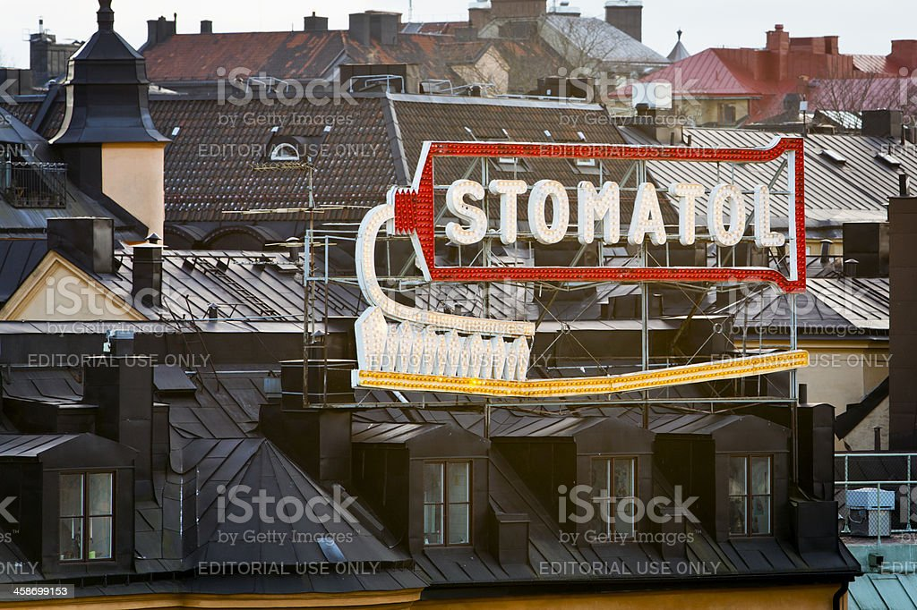 Old style commercial light sign stock photo