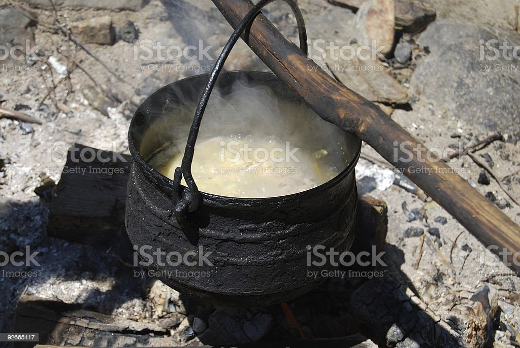 Old Style Cooking Poverty stock photo