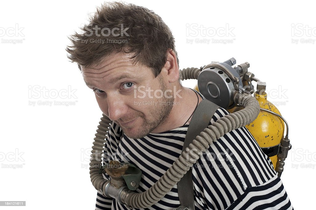 old style diver stock photo