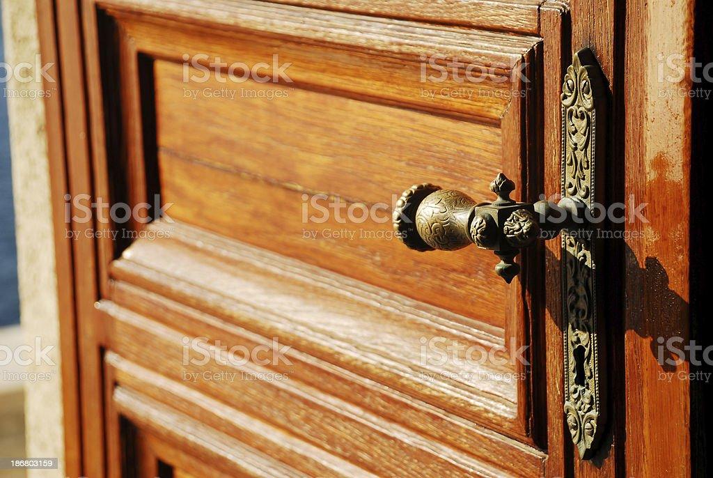 Old style door handle stock photo