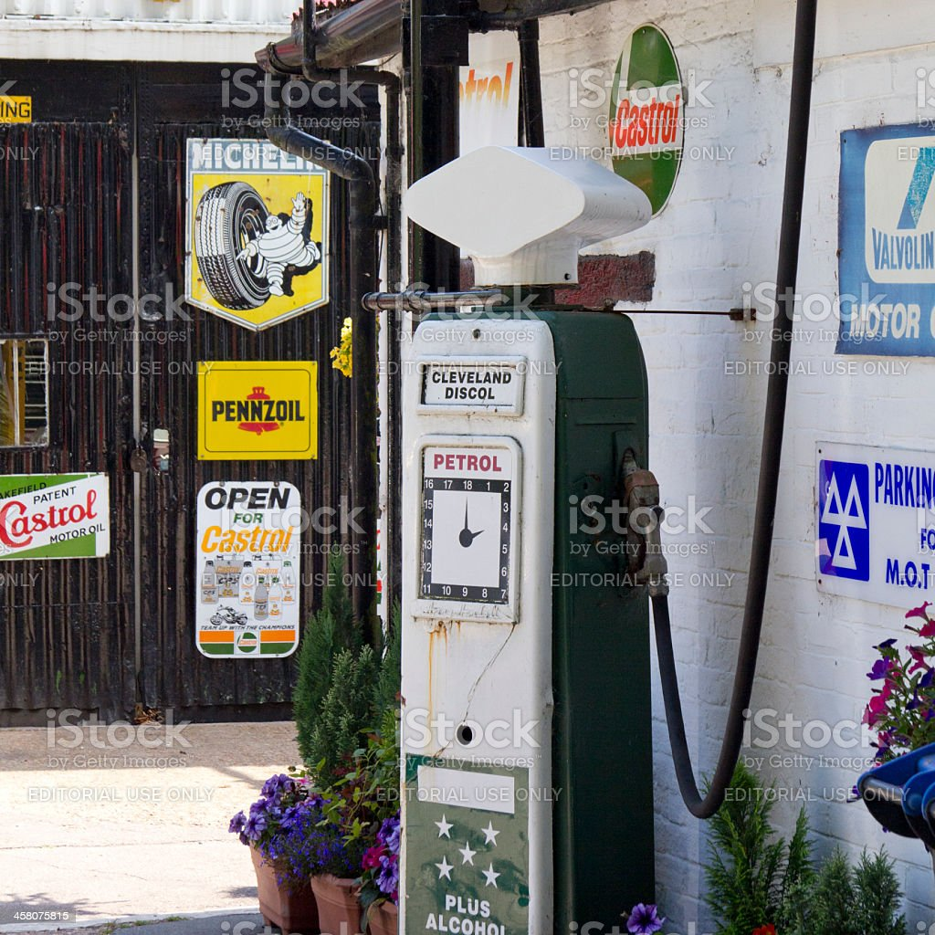 Old style garage forecourt and brands stock photo