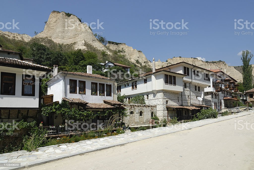 Old style houses and view from Melnik, Bulgaria stock photo