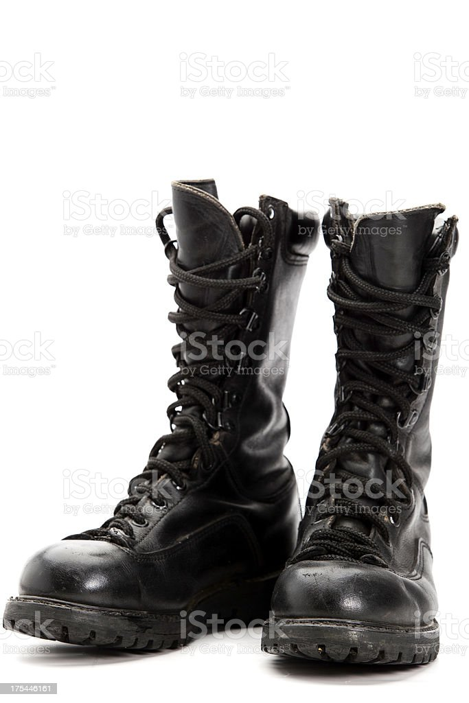 Old Style Military Combat Boots stock photo