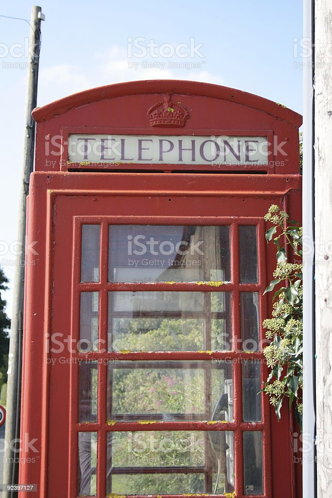 Old Style Phone Box in the Countryside stock photo