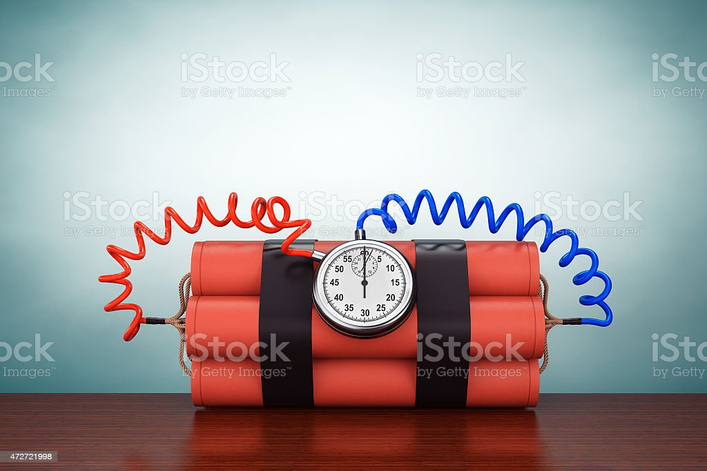 Old Style Photo. Dynamit with Stop Watch Detonator stock photo
