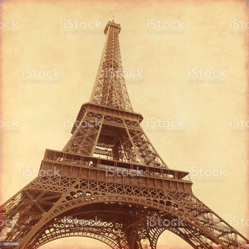Old style photo of Eiffel Tower. stock photo