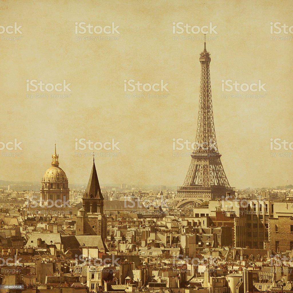Old style photo of Eiffel Tower.Paris. stock photo