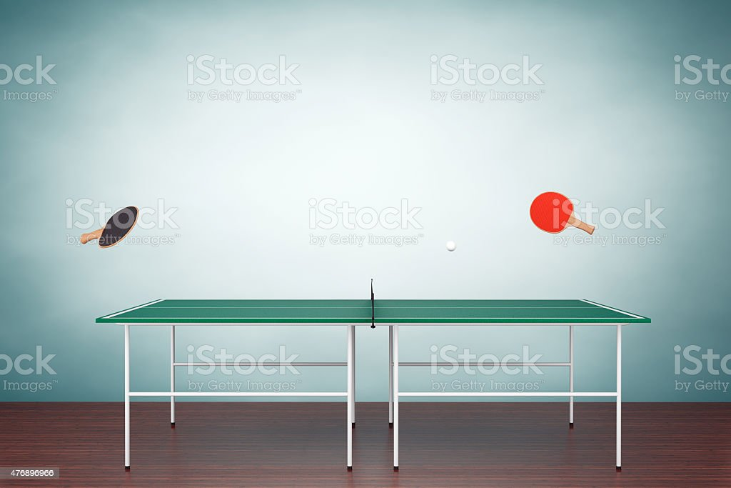 Old Style Photo. Ping-pong tennis table with Paddles stock photo