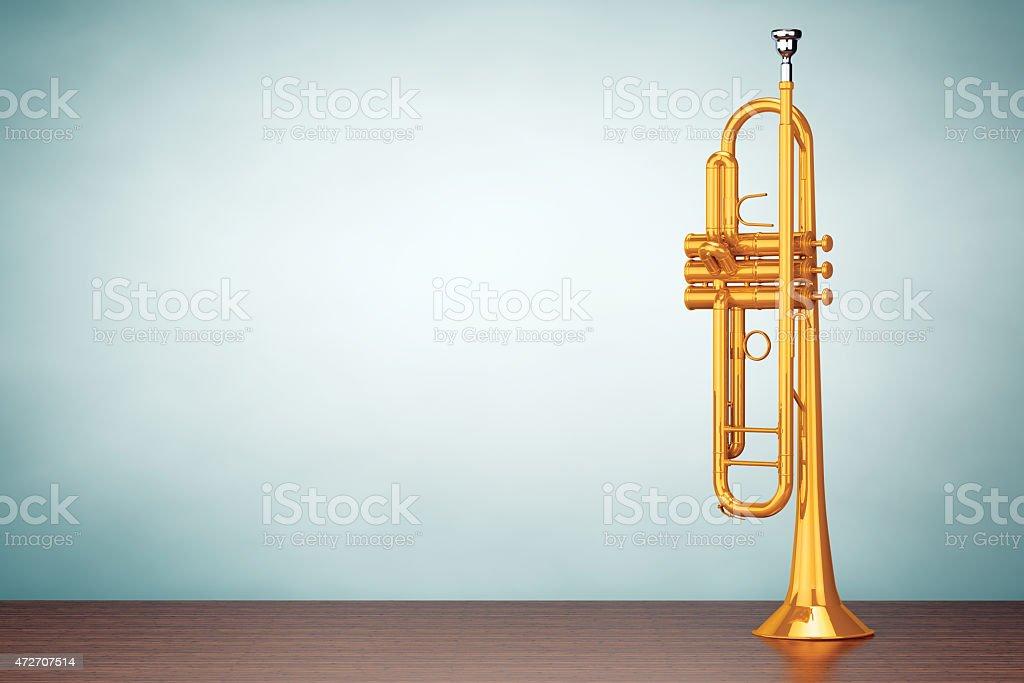 Old Style Photo. Polished Brass Trumpet stock photo