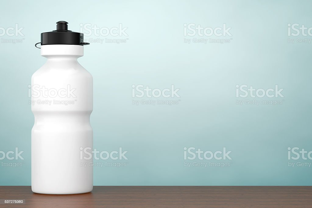 Old Style Photo. White Sport Plastic Water Bottle. 3d rendering stock photo