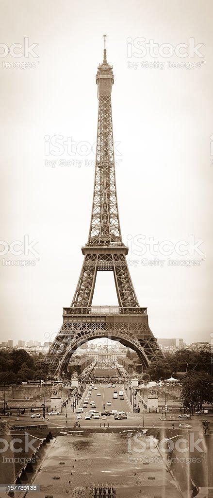 Old Style Picture of Paris Landmark Eiffel Tower stock photo