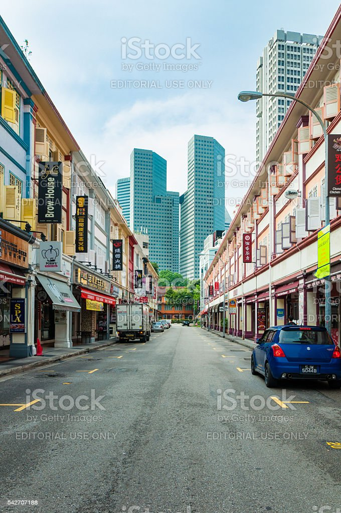 old style shop house in Bugis stock photo