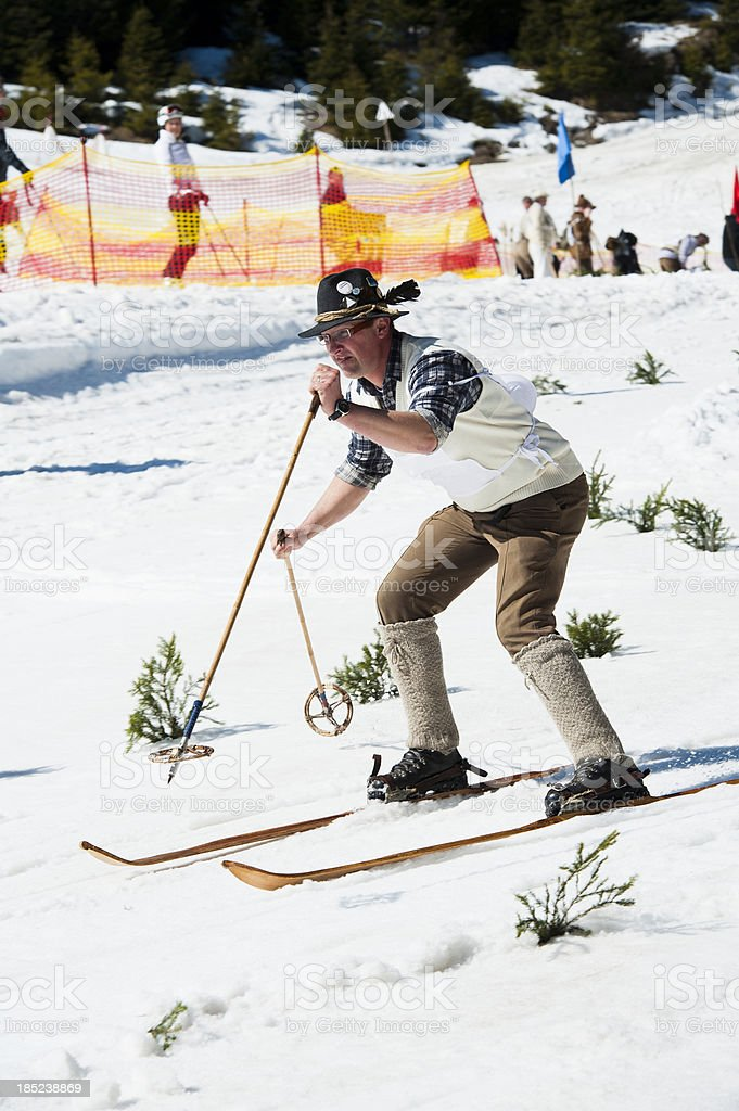 Old Style skiing competitor at giant slalom royalty-free stock photo
