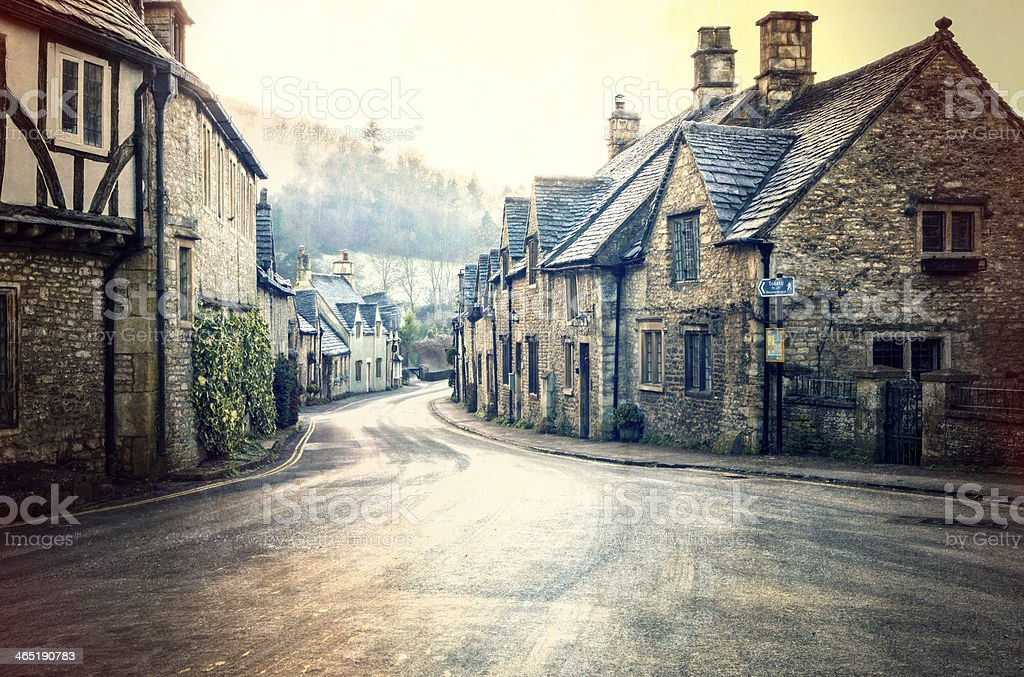 Old style street view in historic Castle Combe stock photo