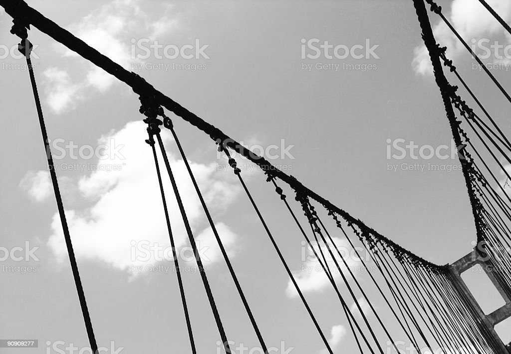 Old Style Suspension Bridge stock photo