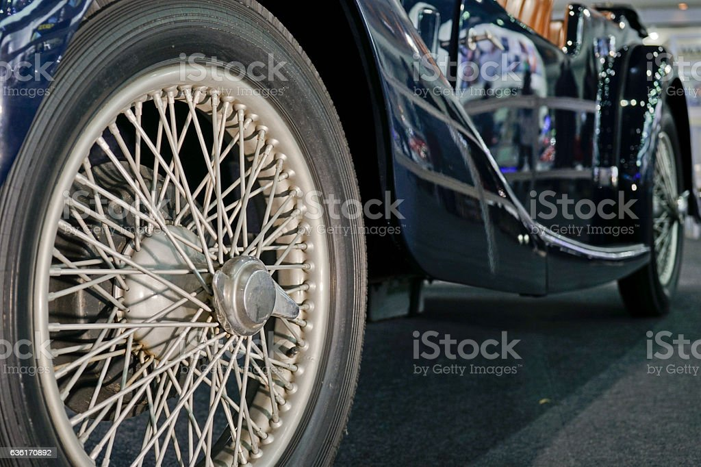 Old style wheel and tire. stock photo