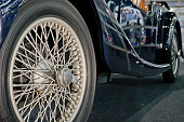 Old style wheel and tire.