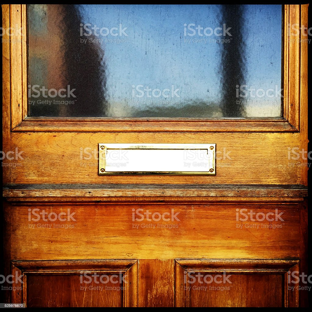 Old Style Wood and Glass Door stock photo
