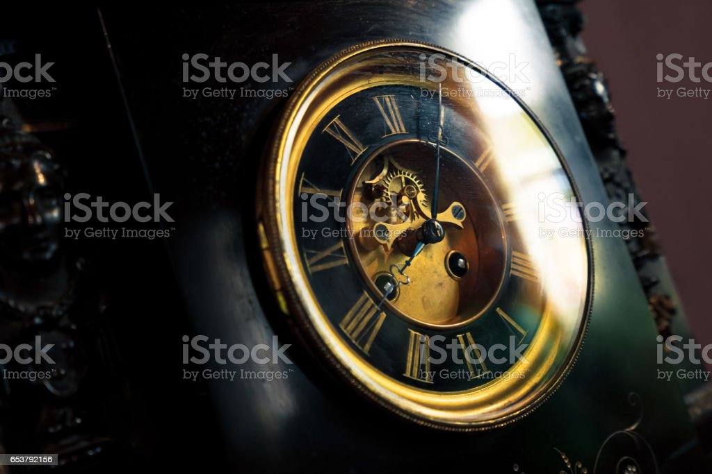 old style wooden clock face stock photo