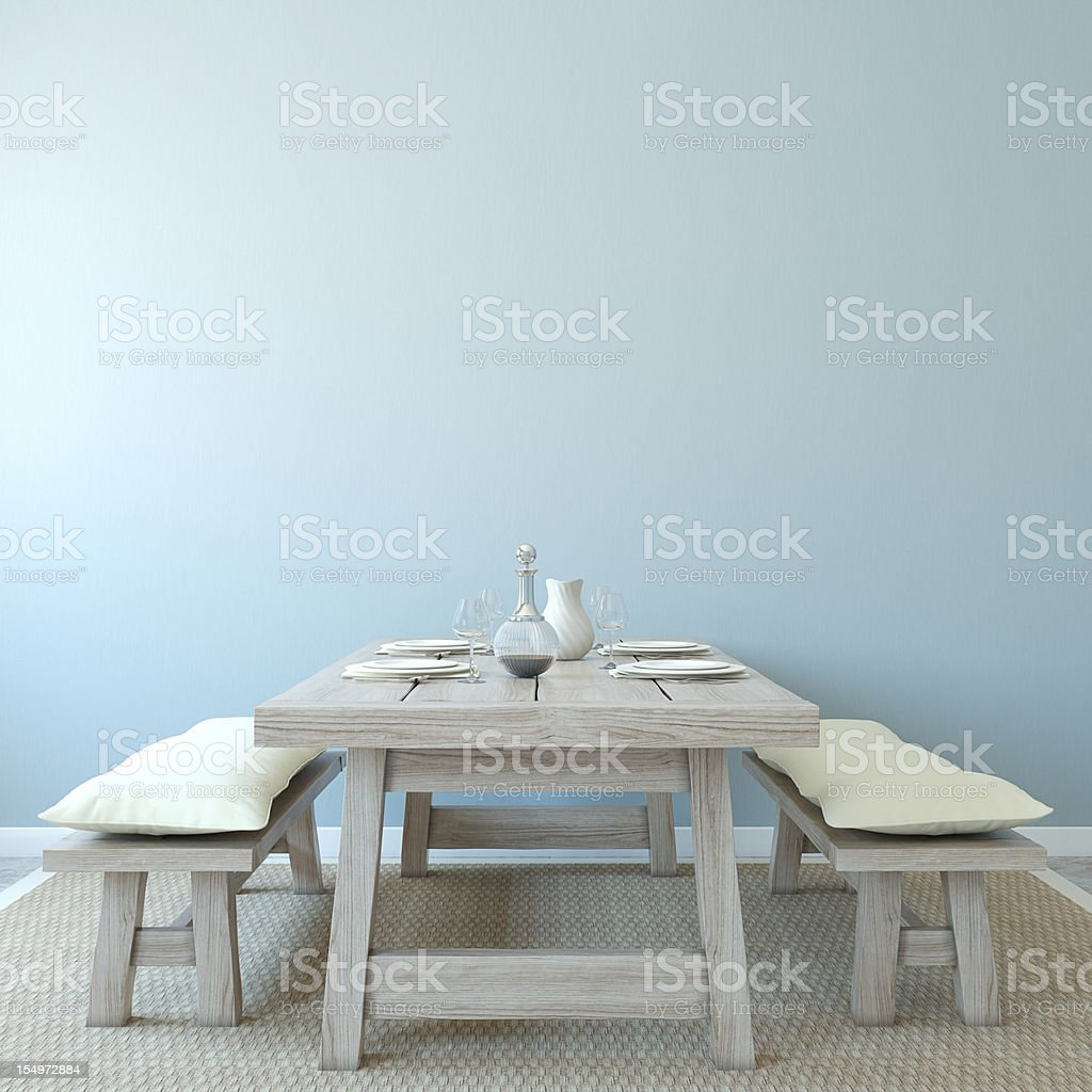 Old style wooden table dining room stock photo