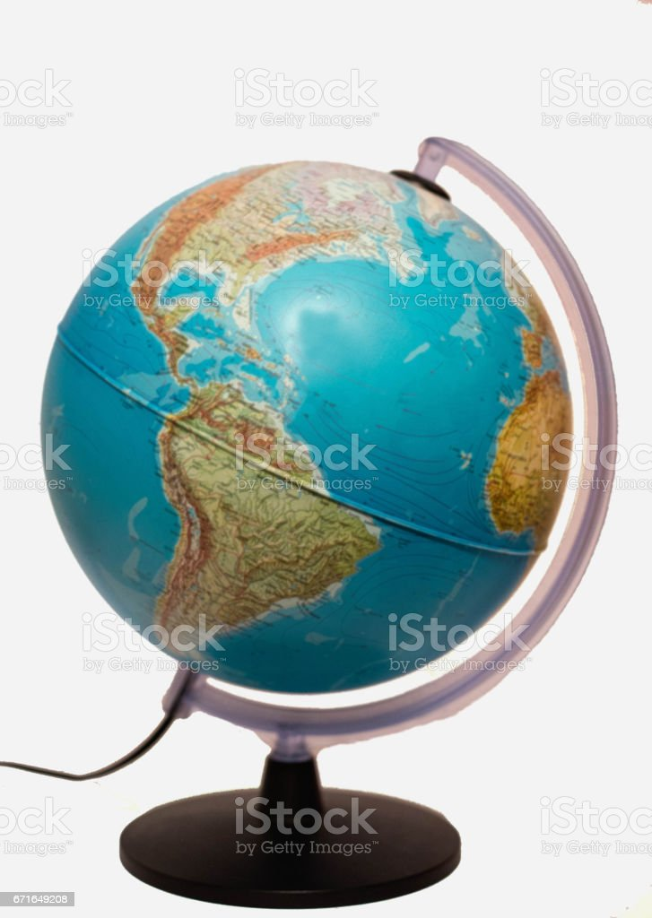 Old Style World Globe - Antique world globe isolated on white background.  Studio close up.  Showing Africa and some of Middle East. stock photo