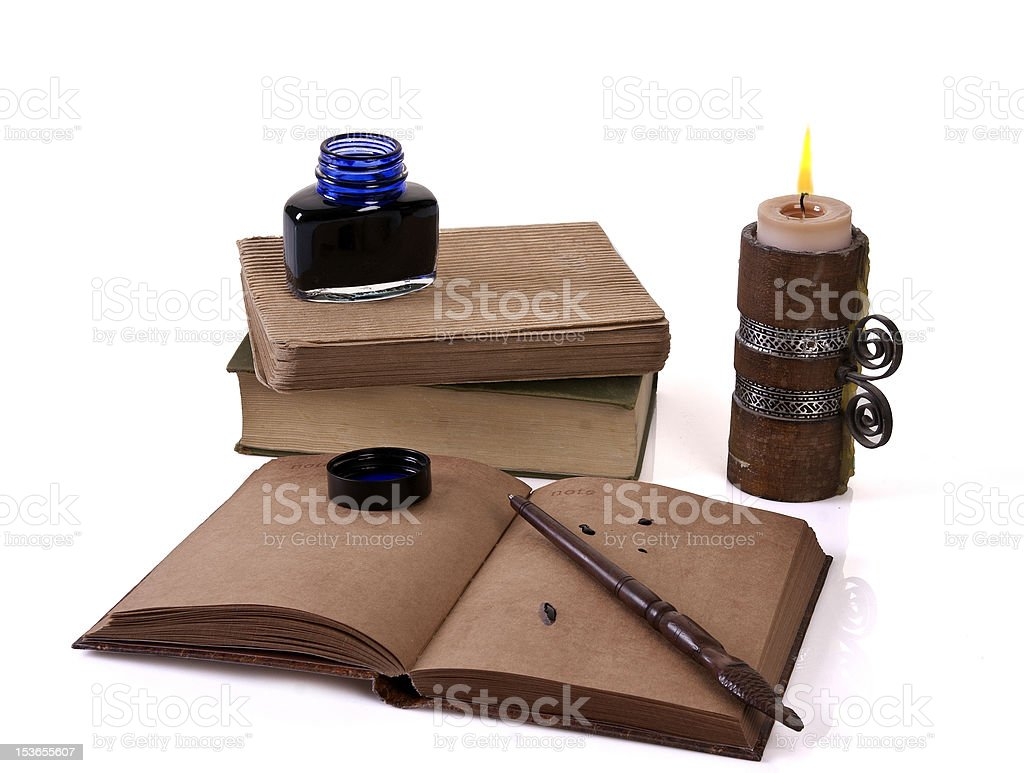 old style writing set  with a candle royalty-free stock photo
