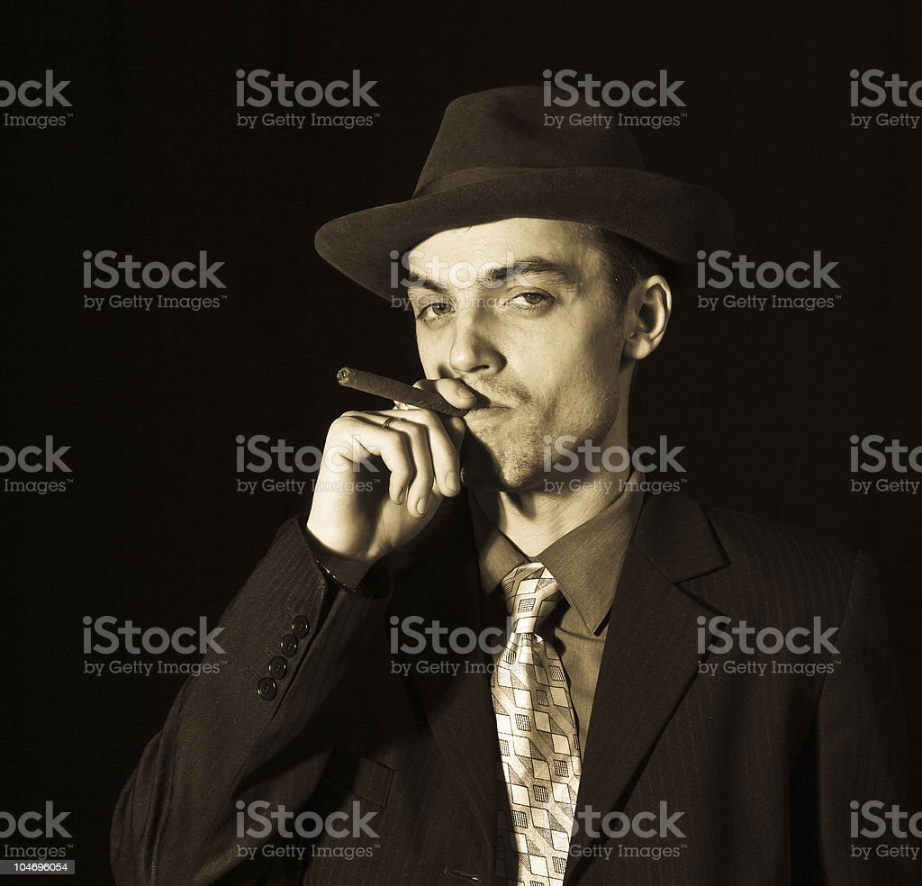 old style young man with cigar stock photo