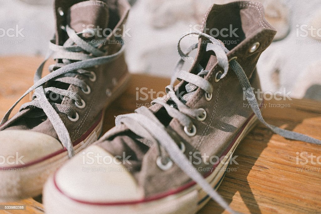 Old Styled Canvas Shoes stock photo