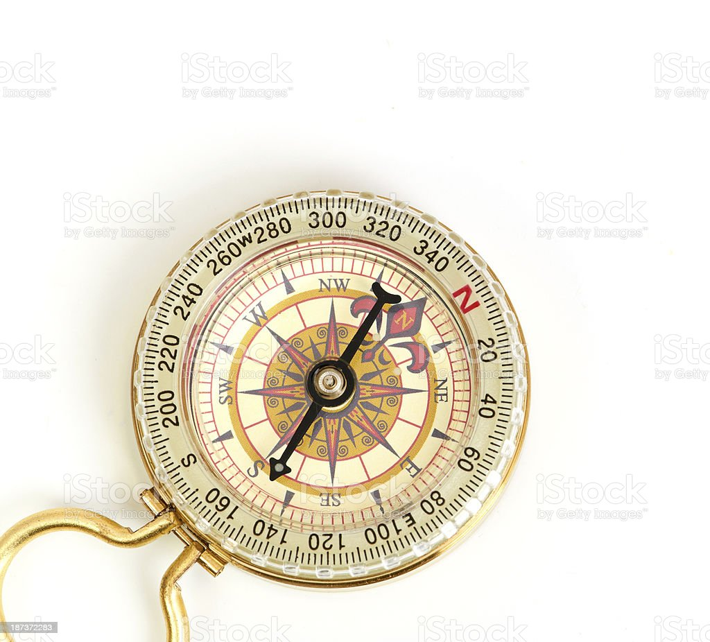 old styled, gold compass isolated on white background stock photo