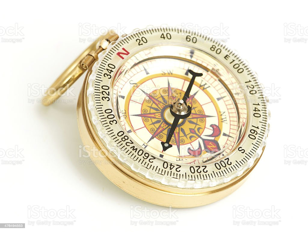 old styled, gold compass stock photo