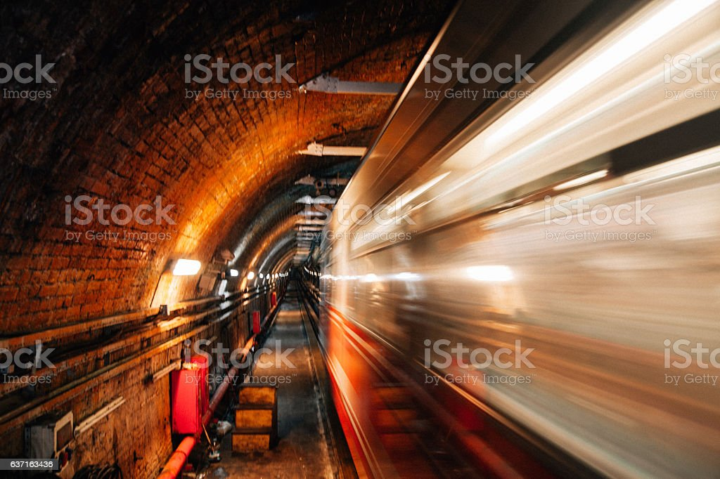 Old subway tunnel in Istanbul stock photo