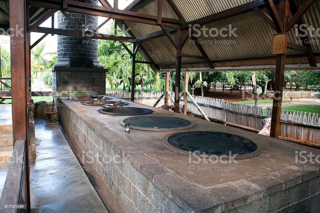 old sugar cane factory. Mauritius stock photo