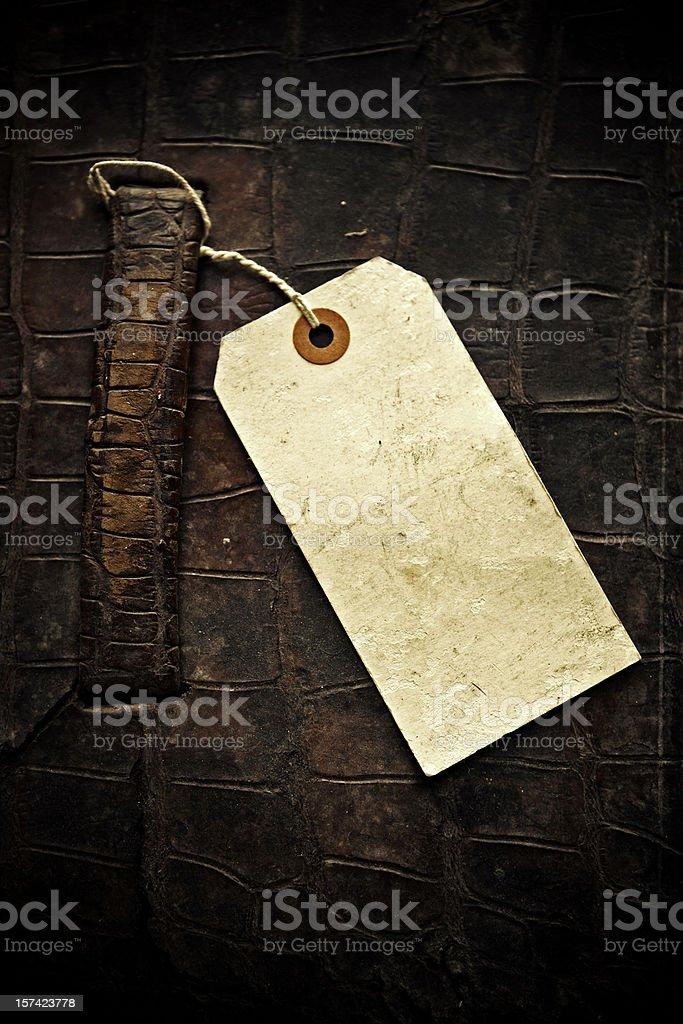 old suitcase and tag stock photo