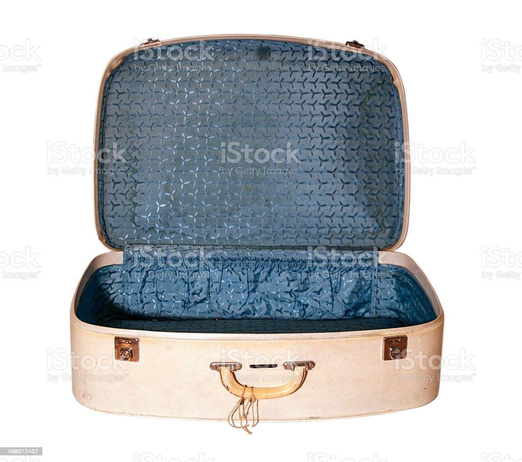 Vecchia valigia aperta (con clipping path) foto stock royalty-free