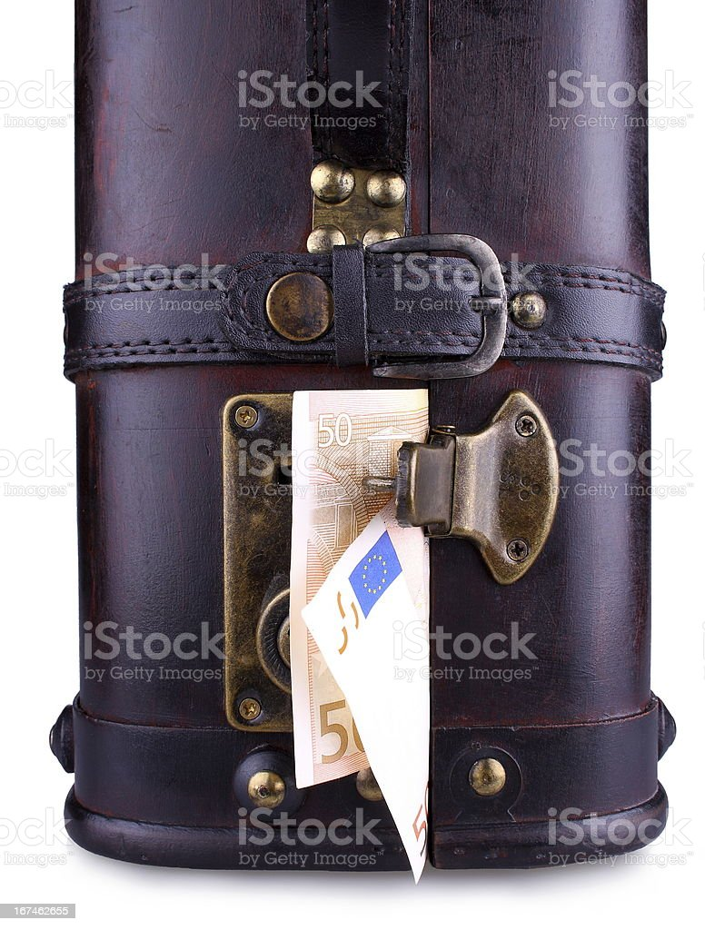 Old suitcase with fifty euro, close up royalty-free stock photo