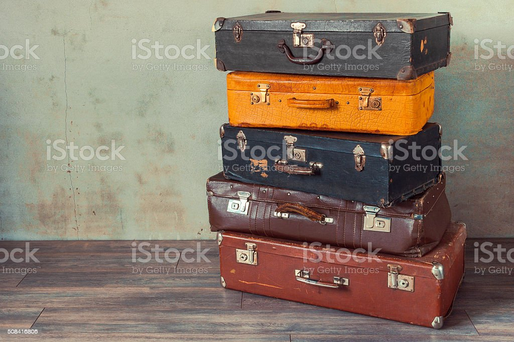 Old suitcases stock photo