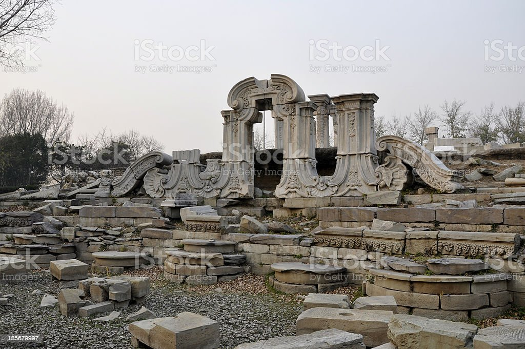 Old Summer Palace, ruins in Beijing, China stock photo