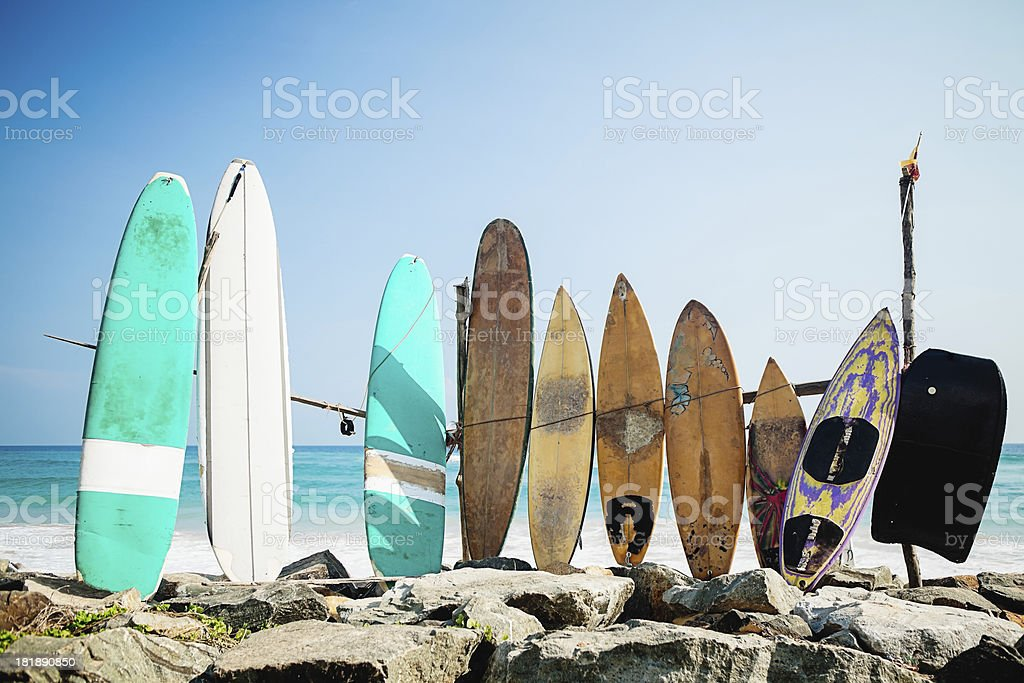 Old Surf Boards stock photo